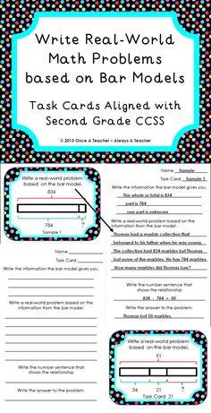 Write Real-World Math Problems based on Bar Models - Task Cards Second Grade Math, 4th Grade Math, Mastery Maths, Math In Focus, Math Practice Worksheets, Daily 5 Math, Bar Model, Math Challenge, Singapore Math