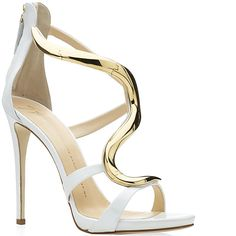 Giuseppe Zanotti Spring 2014 White Leather Gold Wave Sandal - Buy Online - Designer Sandals
