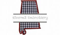 {SplitAlabama.zip K.H.} $2.95Split Applique State of Alabama Machine Embroidery Design