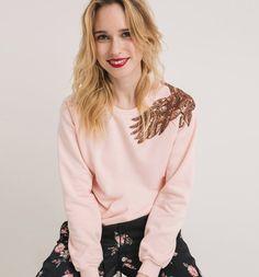 Sudadera bordada rosa pálido - Promod