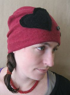 7c66d24be279b Felted Beanie Embellished Upcycled Hat in by SewEcological