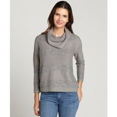 Design History Colony heather grey shadow stripe cowlneck sweater ($18) ❤ liked on Polyvore featuring tops, sweaters, colony heather grey, boxy sweater, 3/4 length sleeve tops, cowl neck tops, 3/4 sleeve sweaters and striped sweater