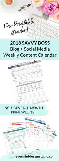 Get the FREE Printable Binder - 2018 Blog + Social Media Weekly Content Calendar // Looking to streamline your weekly content planning strategy? Download my 2018 Weekly Content Planner Binder and get organized with your weekly social media, blog and newsletter content. Includes January - December 2018 at-a-glance Calendar // Print weekly to stay on top of your goals and content planning for the week. Click here to visit EverMint Design Studio // www.evermintdesignstudio.com
