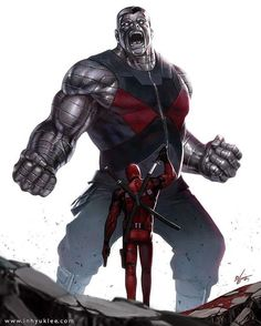 Marvel Comic Book Artwork • Colossus vs Deadpool. Follow us for more awesome comic art, or check out our online store www.7ate9comics.com