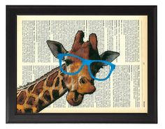Geeky Giraffe in big blue glasses vintage dictionary art print / Giraffe wall decor / Giraffe artwork / kids bedroom animal art