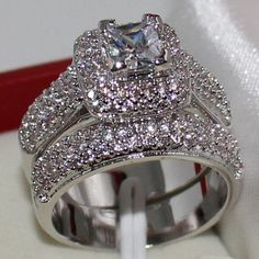 Size 6,7,8,9,10 Majestic Sensation Women's 925 Silver Square Simulated Diamond CZ Paved Wedding Ring Sets