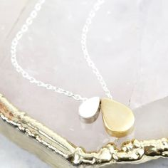 5ae29d0e7 Looking for Fine Jewellery? Try our shiny Sterling Silver Droplet Necklace  in Silver and Gold. Lisa Angel