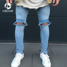Big Discount $27.78, Buy Fashion Men`s Skinny Jeans Washed Vintage Faded Ripped Distressed Slim Fit Stretchy Jegging Denim Pants Jeans With Big Hole