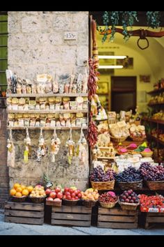 Fruit and Cheese Market in Tuscany, Italy