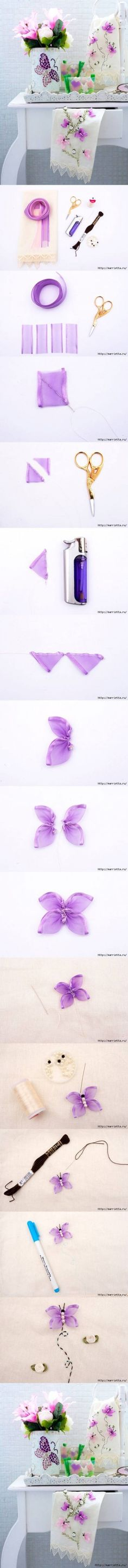 DIY Butterfly Hand Ribbon Embroidery DIY Butterfly Hand Ribbon Embroidery by diyforever Embroidery Designs, Ribbon Embroidery Tutorial, Silk Ribbon Embroidery, Cross Stitch Embroidery, Hand Embroidery, Embroidery Blanks, Ribbon Art, Diy Ribbon, Ribbon Crafts