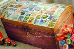 baú com selos Lucia. stamps, decoupage