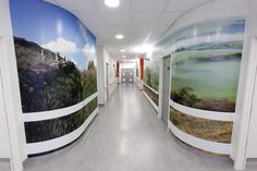 Local landscape in Chesterfield Royal Hospital. Artwork by Artinsite. Printed Glass Splashbacks, Healthcare Architecture, Shower Wall Panels, Decorative Wall Panels, Wall Cladding, Chesterfield, High Gloss, Health Care, Wall Decor