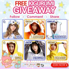 FREE Adorable Onesie Giveaway  Welcome 2016 with warm and cute onesies! Get a chance to win any of these comfortable kigurumi onesies for FREE! JOIN NOW ► http://on.fb.me/1mT3gwW Simply follow the mechanics to win. 1 winner will receive 1 kigurumi of his/her own choice. Contest will run from December 31, 2015 - January 6, 2016. We will announce our winner on our newsletter and social media accounts on January 7, 2016. Good Luck!