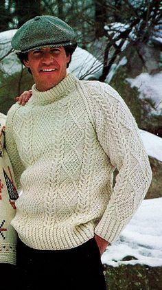 Men's Vintage Aran Irish Fisherman Cable Crew Neck-Raglan Sleeves Pullover Sweater PDF Knitting Pattern