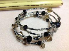 Memory Wire Bracelet Black Beaded Bracelet by JewelryCharmers, $19.00