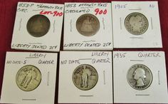 Lot of 6 Quarters 90% Silver assorted dates 1853-1935 Ungraded Read and see pics #silvercoins #coincollection