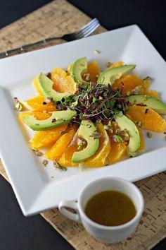 Feel Good Sunburst Salad!  Avocados, oranges, pistachios and microgreens. Bursting with vitamin C, omega 3 fatty acids, vitamin K, vitamin E, magnesium and vitamin B6.