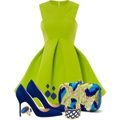A fashion look from May 2014 featuring mini skater dress, pointy toe pumps and green clutches. Browse and shop related looks.