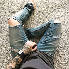 Rips n Rings. •  #menswear #mensfashion #currentlywearing #wiwt #ootd #lotd #lookbook #denim #ripped #denimblog #style #fashion #tattoo #ink #inked #me #mystyle #dailylook #instastyle #instadaily #photooftheday #mrjameswilliamson