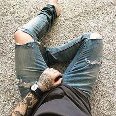 Rips n Rings. •  #menswear #mensfashion #currentlywearing #wiwt #ootd #lotd #lookbook #denim #ripped #denimblog #style #fashion #tattoo #ink #inked #me #mystyle #dailylook #instastyle #instadaily #photooftheday #mrjameswilliamson
