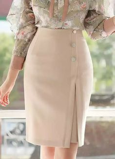 Side Button Detail Front Slit Pencil Skirt Korean Women`s Fashion Shopping Mall, Styleonme. New Arrivals Everyday and Free International Shipping Available. Skirt Outfits, Dress Skirt, Korean Women, Work Attire, African Dress, African Fashion, Designer Dresses, Fashion Dresses, Dresses Dresses