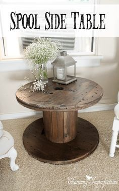 This side table is the perfect farmhouse touch with an even more perfect price tag! Learn what to do to restore these old spools into nightstands and side tables for your country cottage. Industrial Side Table, Industrial Living, Spool Tables, Rustic Farmhouse, Cottage Farmhouse, Industrial Farmhouse, Vintage Industrial, Farmhouse Style, Country Decor
