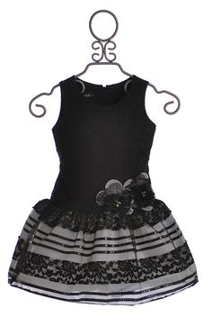 Isobella and Chloe Drop Waist Dress for Girls in Black Lace
