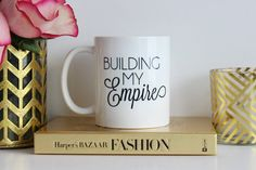 Every morning I start my day with a cup of coffee, and sit and think about how to take over the world...well maybe a little less dramatic. This mug is designed for the woman who wants to be her own boss, punch the day in the face, and run the world. This mug by The Trendy Sparrow would make the perfect inspiration to help you start building your empire. Click the photo to purchase this fabulous mug! ($17)