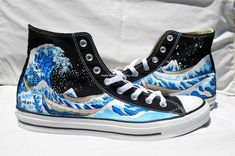 b21def4a9c Cool shoes Hand Painted Converse Shoes - The Great Wave Off Kanagawa -Black  - cheap converse shoes canada white black