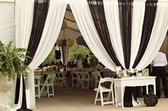 Black and white wedding tent theme. We love doing the black and white combination for weddings. Black White Parties, Black And White Theme, Space Wedding, Wedding Reception, Dream Wedding, Wedding Black, Wedding Bride, Garage Party, Car Garage