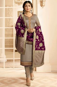 Shop for Dust Color Madhubala Satin Georgette Salwar Suit. All Latest Designs Available at Discounted Price. Only Original Product with High-Quality Fabric Material. Pakistani Dress Design, Pakistani Dresses, Indian Dresses, Pakistani Gharara, Anarkali Dress, African Dress, Bollywood Suits, Bollywood Fashion, Ethnic Outfits