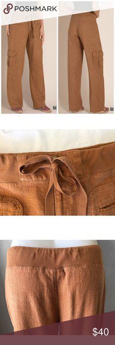 "SOFT SURROUNDINGS CARAMEL WEEKEND LINEN PANTS M SOFT SURROUNDINGS CARAMEL WEEKEND LINEN PANTS SZ M  50% RAYON 47% LINEN 3% COTTON 32""-34"" waist 12"" rise 32"" inseam Soft Surroundings Pants Straight Leg"