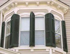 """""""By far the most popular color for shutters throughout history is dark green – Benjamin Moore, Essex Green, Gloss to be exact. Secondary colors were black or a red color. Darker shades were favored to continue the visual concept of the window void when shutters are closed."""" - All About Exterior Window Shutters. - OldHouseGuy Blog"""