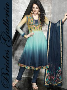 Shaded Net Anarkali Style Churidar Kameez