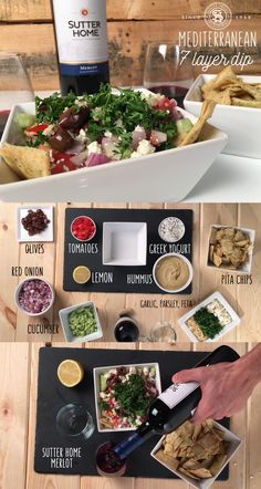 This light and healthy Mediterranean 7- Layer Dip recipe swaps refried beans for hummus and subs Greek yogurt for sour cream. Done in under 15 mins. Let's hear it for the host.