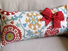 CANDY SHOP  Large Sofa Pillow 12x25 with RED Burlap Bow by yiayias, $70.00