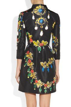 Oscar de la Renta|Printed silk-faille dress|NET-A-PORTER.COM