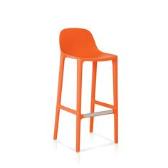 Broom stool by Philippe Starck for Emeco, $350When we think of good design, manufacturing processes along with functionality and aesthetics factor high on our list. Broom is 75 percent waste polypropylene and 15 percent reclaimed wood shavings, and it is made in the USA. The back rises about a foot taller than the rounded seat, offering support. It comes in six colors and in bar and counter heights.