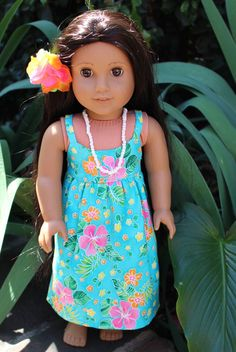 American Girl doll clothes: Summer Fun aqua luau party dress. Hibiscus blooms dress with hair flower and white seed bead necklace.