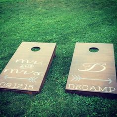 A personal favorite from my Etsy shop https://www.etsy.com/listing/269178582/custom-monogram-wedding-cornhole-boards