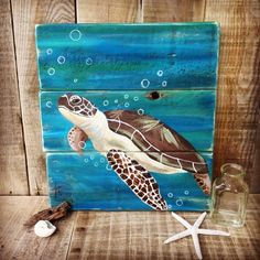 This Sea Turtle Painting Sea Turtle Art Sea Turtle Gifts Sea is just one of the custom, handmade pieces you'll find in our wall hangings shops. Sea Turtle Decor, Sea Turtle Gifts, Sea Turtle Art, Sea Turtles, Wood Turtle, Baby Turtles, Art Plage, Sea Turtle Painting, Octopus Wall Art