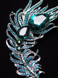 """SILVER GREEN TEAL RHINESTONE BIRD PEACOCK FEATHER PIN BROOCH JEWELRY 3.75"""" 3D #Unbranded #PINBROOCHJEWELRY"""