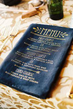 Screen printed gold menus on black napkins via Style Me Pretty Wedding Menu, Wedding Stationary, Wedding Events, Wedding Planner, Wedding Invitations, Wedding Bells, Invites, Wedding Foods, Wedding Ideas