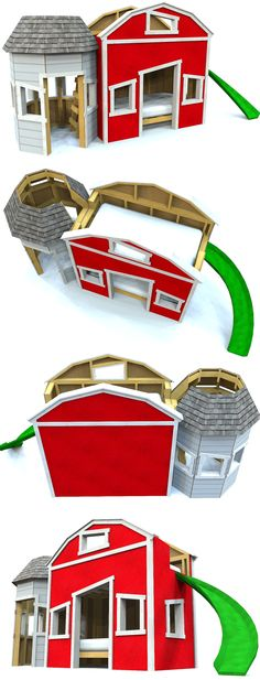 Barn bunk bed playhouse plan. Download the plans and get start building it today!