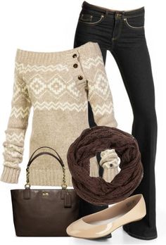 Such a cute sweater along.  I love the whole outfit but it could use a change in shoes.