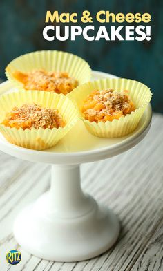 Mac and cheese cupcakes make the ultimate colder weather appetizers! Line the bottom of a cupcake tin with crumbled RITZ crackers and fill with your favorite cheesy macaroni. Top them off with more RITZ as an alternative to bread crumbs!