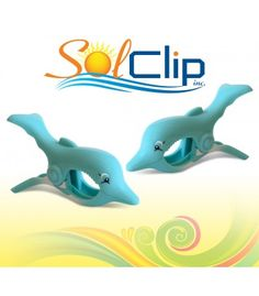 c29e65251776 Beach towel clips - SolClip Dolphin Splash