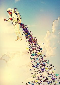 Leave It All Behind by Rubbishmonkey #Design #inspiration with astronaut and butterflies.