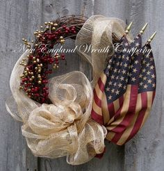 Americana Wreath, Fall Wreath, Autumn Wreaths, Patriotic, Fourth of July Wreath, Tea Stained Flag Wreath