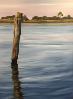"""Afternoon Light on the Mooring"" by Anita Phillips 2015 Landscape painting, oils on canvas of Queenscliff, Vic. Australia.   See more at www.anitaphillips.com.au"